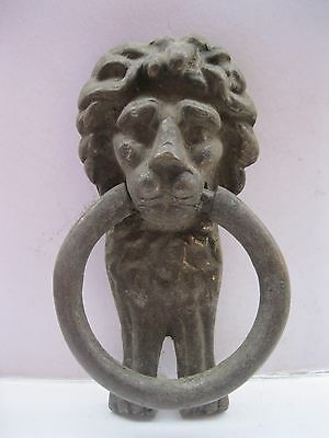 Vintage Heavy Brass Lion Door Knocker Architecture Hardware Antique Old India