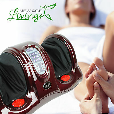 Shiatsu Kneading Rolling Foot Massager Leg Calf Ankle Red Burgundy L