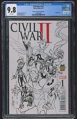 Civil War II #1 (CGC 9.8 NM/MT) (Marvel 2016) J. Scott Campbell Sketch Variant!