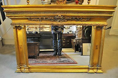 Beautiful older Reproduction Antique Regency style gilded Overmantle Mirror