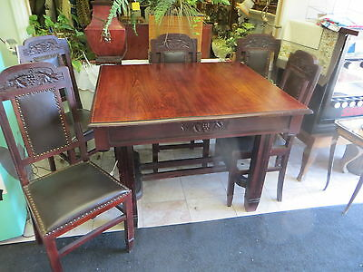 Spanish Revival Antique Dinette Size Set with 6 chairs