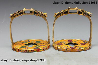 Chinese Bronze Cloisonne Enamel carved Horse  pedal Stirrup statue pair