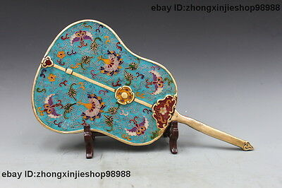 Chinese Bronze Cloisonne Enamel Buddhism Taoism Lucky Exorcism Fan Statue