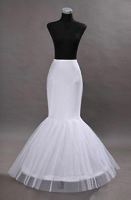 New-White-1-Hoop-Fishtail-Mermaid-Skirt-Wedding-Dress-Crinoline-Petticoat-Slips