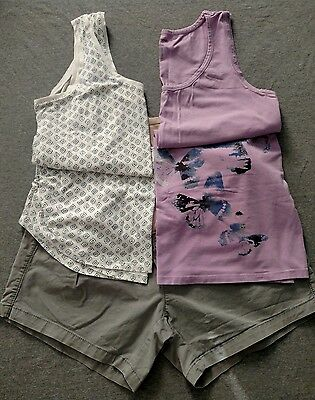 Maternity Clothes Gray Shorts Size 12 two Tanks Navy print and Purple Size L