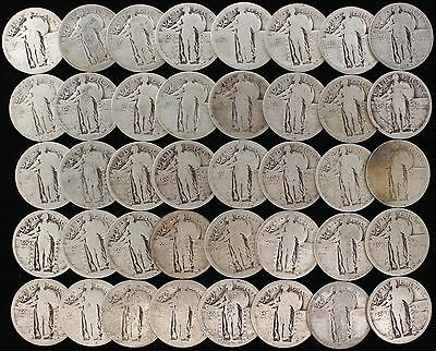 Dateless Standing Liberty Quarters Circulated Full Roll 40 Silver Coins
