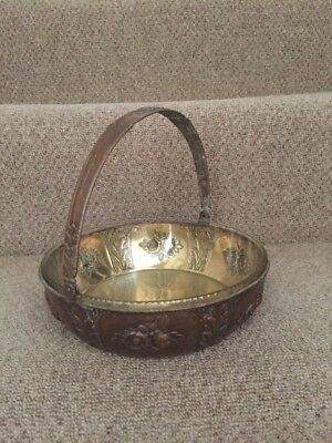 Brass Fruit Bowl Dish Handle Glass Liner Antique