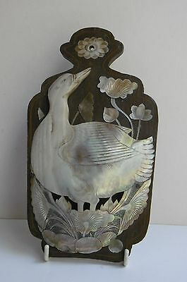 Antique Mother of Pearl Shell Japanese Wall Pocket Duck or Goose Bird Lotus Lily