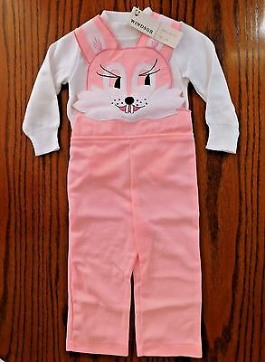 Vintage baby clothes RABBIT dungarees set bib brace trousers top UNUSED girls