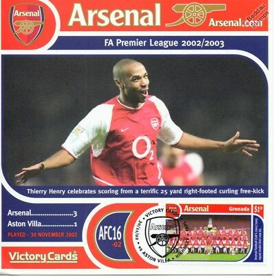 Thierry Henry ARSENAL Football Club Victory Card Stamp Album / Cover Collection