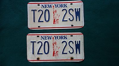 Vintage Pair Of New York State Liberty License Plates