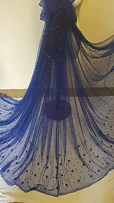 """1M  new royalblue  PEARLS BEADED  boarder  BRIDAL TUULE FABRIC 58/"""" WIDE"""
