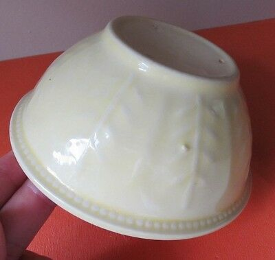 """Small Antique YELLOWARE BOWL 5"""" Across KITCHEN PRIMITIVE Stamped USA"""