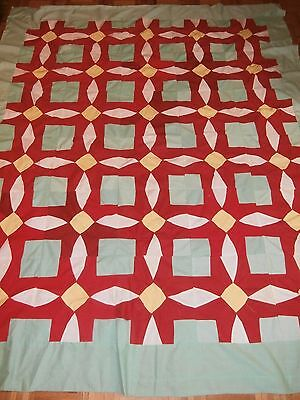 "Antique Vintage Kaleidoscope Pattern Quilt Top 75"" x 87""  Nice!"
