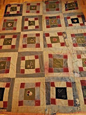 "Antique Crazy pattern cutter quilt dated 1913 64"" x 79"" Herringbone stitching"
