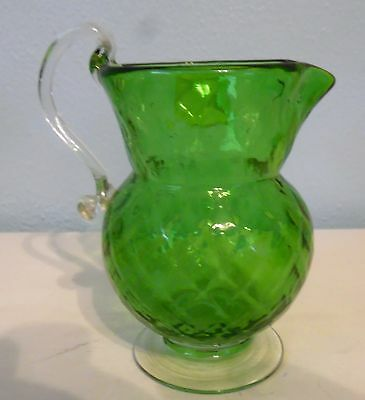 Victorian Blown Glass Green Small Footed Pitcher with Clear Applied Handle
