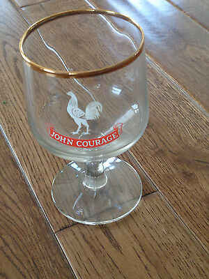 "Vintage JOHN COURAGE Stemmed Glass w/ Gold Rim English Beer 5 3/8"" tall"