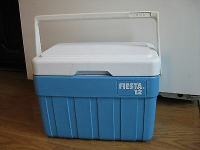 Vintage Fiesta 12 Cooler Original blue and white made in 1980