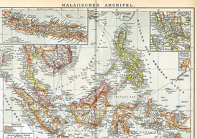 Malaiischer Archipel Landkarte 1902 - Philippinen - Malay Archipelago map