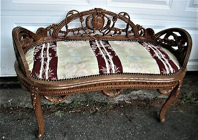 Vintage George Iii Style Carved Fruitwood Bench