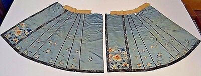 19th C. Qing (Ching) Dynasty Chinese Silk Embroidered Skirt