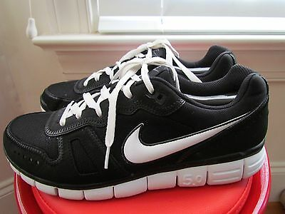 Nike Free Waffle Black And White Leather/textile  Men's Running Sneakers Size 12