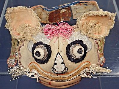 19th C. Qing Ching Dynasty Chinese Silk Embroidered Tiger Hat/Headband-- UNIQUE!
