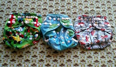 Bumkins OS Cloth Diaper Cover with Snaps - Lot of 3 - Boy Prints - EUC