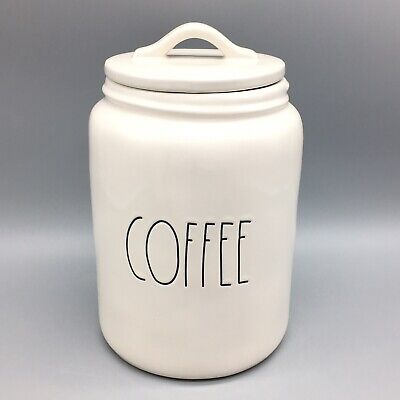 Rae Dunn Artisan Collection COFFEE Canister Container White Black by Magenta NEW