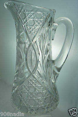 Vintage Crystal Or Glass Water/wine Pitcher Flowers Etched Hobstar