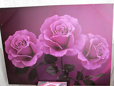 canvas picture  of roses  44in x 32 in  3small 12in  square