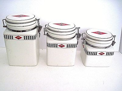 Coca Cola Retro Vintage Kitchen Canisters - by Gibson Coke Canister - Set of 3