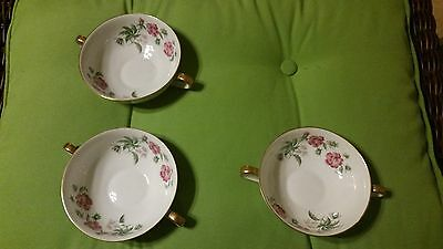 H&co Selb Bavaria 2 Handled Bullion Cups   Set Of 3   Montrose Pattern