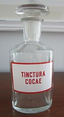 Cocaine Bottle ~ Tincture of Cocae ~ Glass Apothecary Pharmacy Jar ~ Narcotic