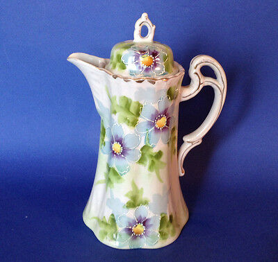 Chocolate Coffee Tea Pot With Ornate Handle - Hand Painted Blue Daisies - Japan