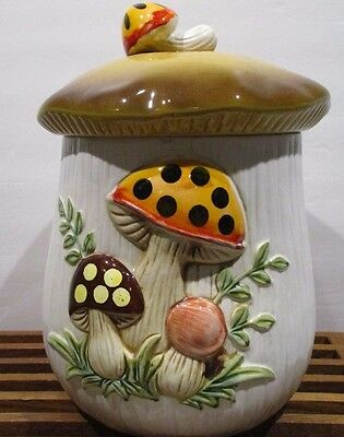 """Sears Roebuck and Co   Merry Mushroom 10"""" Canister    Marked """"1953"""""""