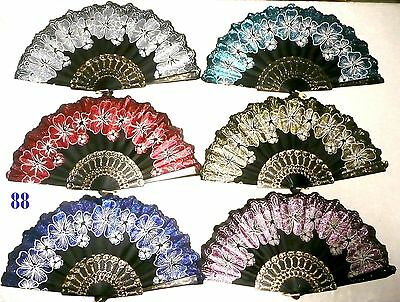 6 Pcs Floral Pattern Glitter Asian Chinese Japan Dancing Hand held Folding Fan