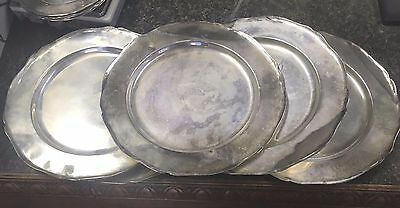 """6 Camusso Peruvian """"Round Charger"""" Plates 10 3/4"""" Sterling Silver 2,219 G Peru"""