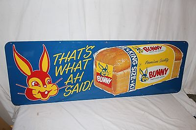 """Large Vintage 1950's Bunny Bread Grocery Store Kitchen Gas Oil 54"""" Metal Sign"""