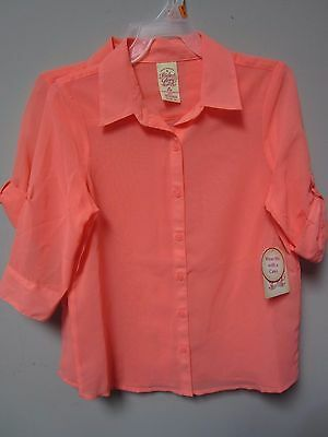 Faded Glory Youth Girls Peach Blouse 3/4 Sleeve Shirt Size M (7/8) LOT OF TWO