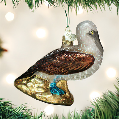 Blue Footed Booby Old World Christmas Tree Ornament mouth blown glass