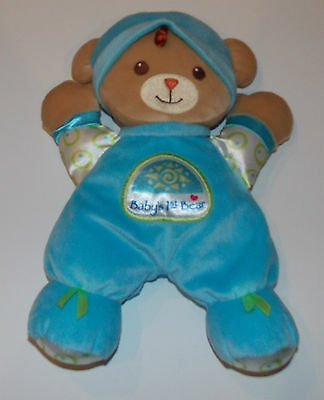 Fisher Price Baby's 1st Bear Blue Stuffed Animal Plush Lovey Security Rattle Toy