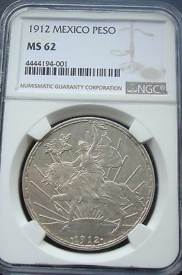 1912 Horse $1 Peso Silver Espectacular Coin  Uncirculated MS62 NGC