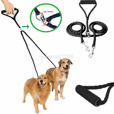 Dual Double Dog Leash No Tangle W Soft Handle for Two Small/Medium Dogs US
