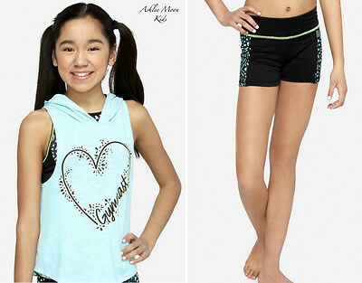 NWT JUSTICE Girls 6 12 GYMNAST Tank Hoodie & Compression Shorts Set