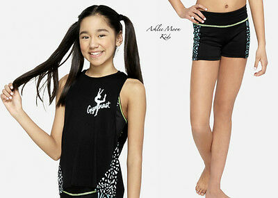 NWT JUSTICE Girls 7 12 18 GYMNAST Black/Aqua Tank & Compression Shorts Set