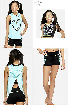 NWT JUSTICE Girls GYMNAST 3-Pc.Tank Hoodie / Dance Tank & Compression Shorts Set