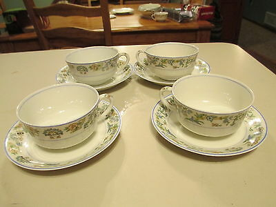 Set Of 4 Cup And Saucers  Blue Oriental O.p. Co Syracuse China