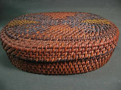 STURDY ANTIQUE CHINESE OVAL BAMBOO BASKET w/LID