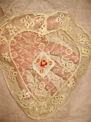antique BABY LACE Buggy Cradle LAYOVER COVER HEART Embroidered Diamond unisex